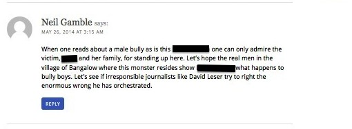 Neil Gamble -bully threat-redacted